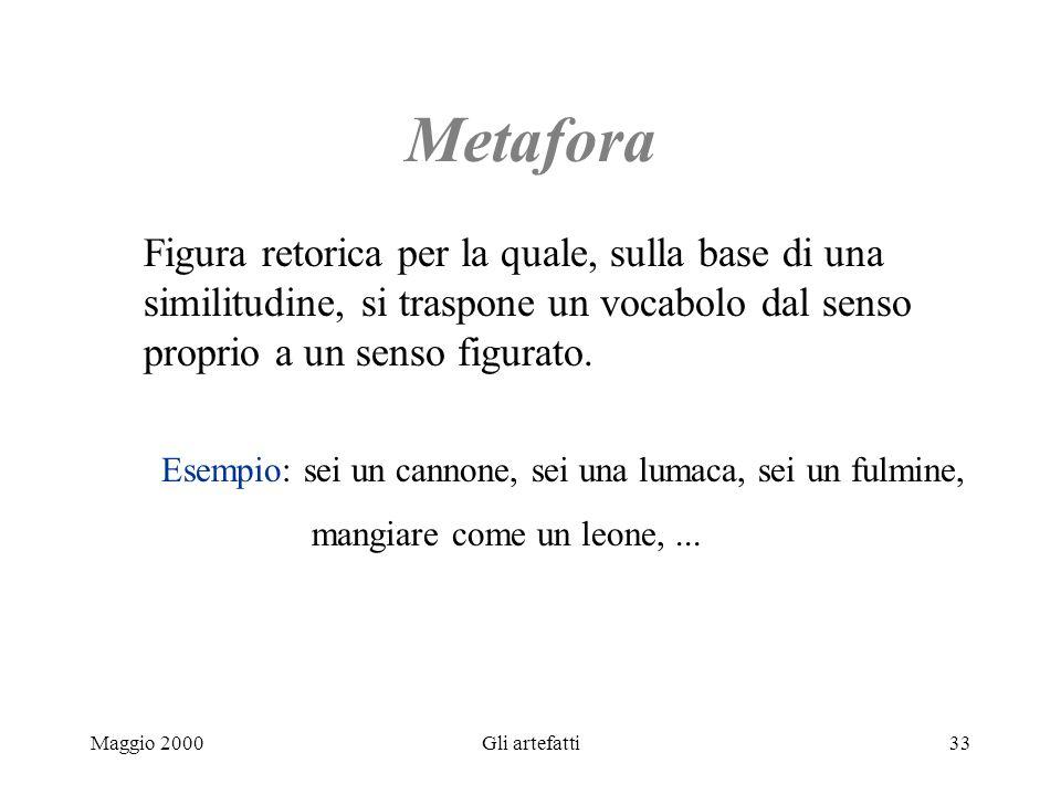 Maggio 2000Gli artefatti33 Metafora Figura retorica per la quale, sulla base di una similitudine, si traspone un vocabolo dal senso proprio a un senso