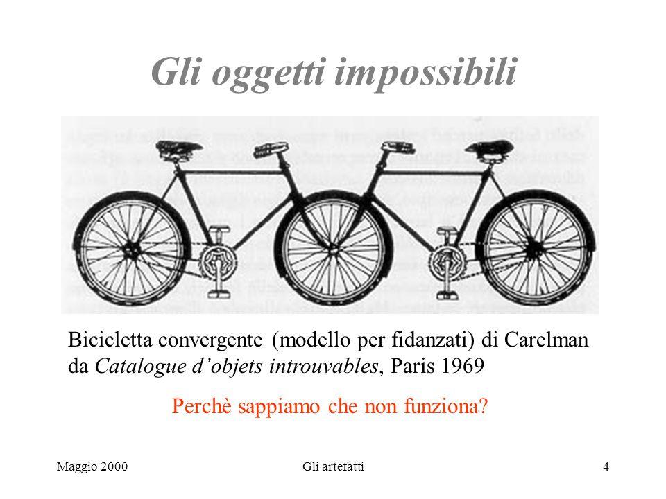 Maggio 2000Gli artefatti4 Gli oggetti impossibili Bicicletta convergente (modello per fidanzati) di Carelman da Catalogue dobjets introuvables, Paris