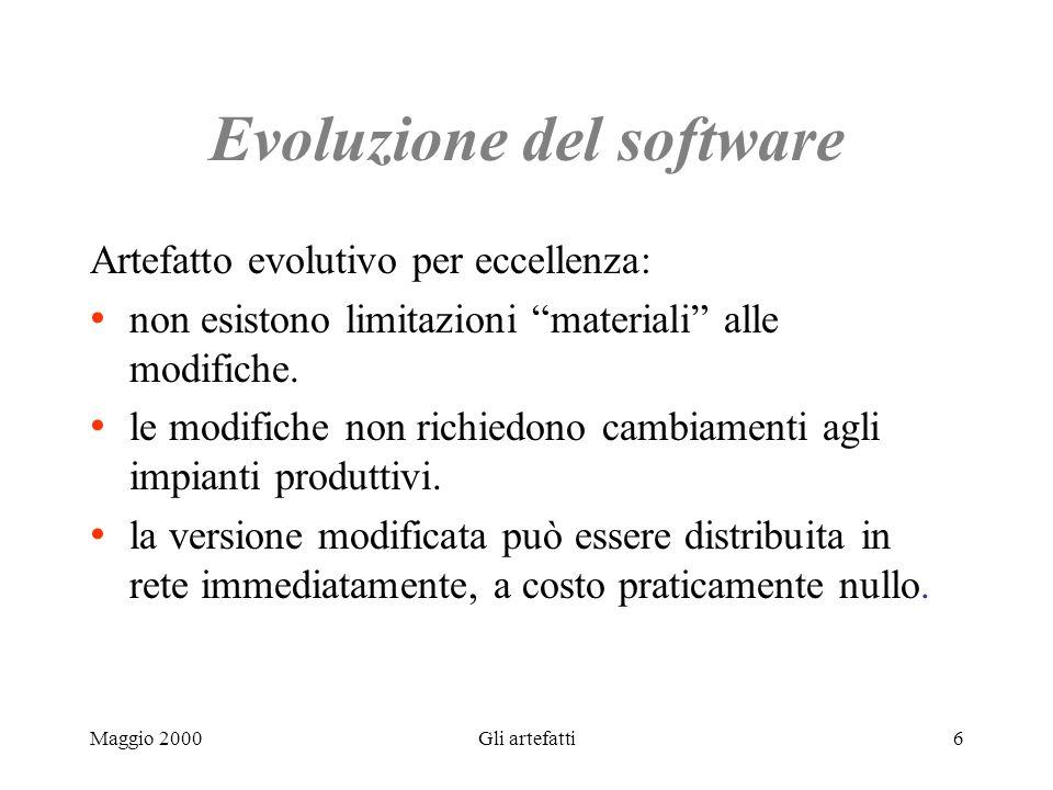 Maggio 2000Gli artefatti6 Evoluzione del software Artefatto evolutivo per eccellenza: non esistono limitazioni materiali alle modifiche. le modifiche
