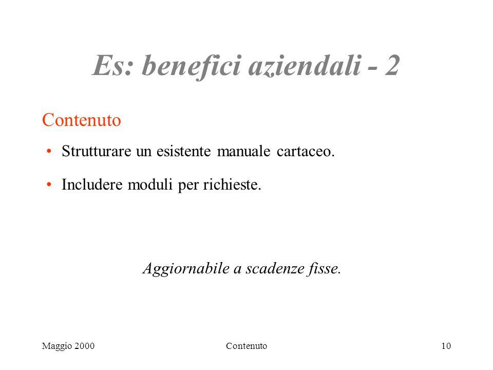 Maggio 2000Contenuto10 Es: benefici aziendali - 2 Contenuto Strutturare un esistente manuale cartaceo.