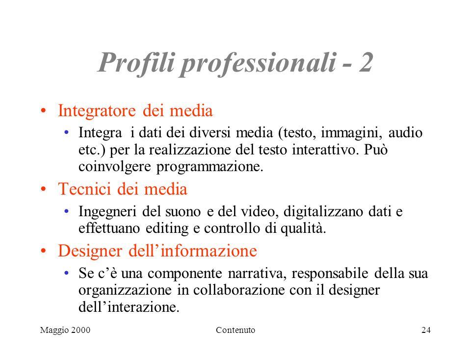 Maggio 2000Contenuto24 Profili professionali - 2 Integratore dei media Integra i dati dei diversi media (testo, immagini, audio etc.) per la realizzazione del testo interattivo.