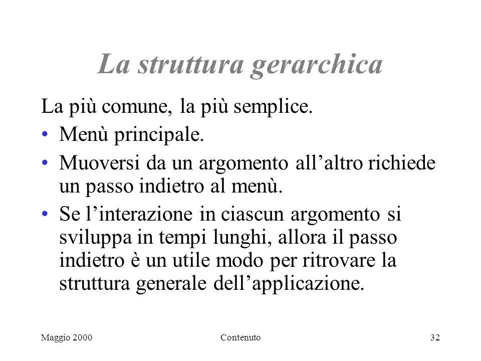 Maggio 2000Contenuto32 La struttura gerarchica La più comune, la più semplice.