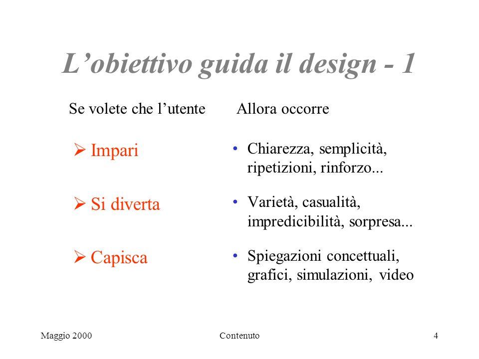 Maggio 2000Contenuto4 Lobiettivo guida il design - 1 Impari Si diverta Capisca Chiarezza, semplicità, ripetizioni, rinforzo...