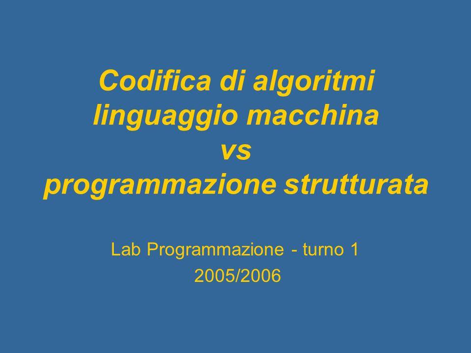 Codifica di algoritmi linguaggio macchina vs programmazione strutturata Lab Programmazione - turno 1 2005/2006