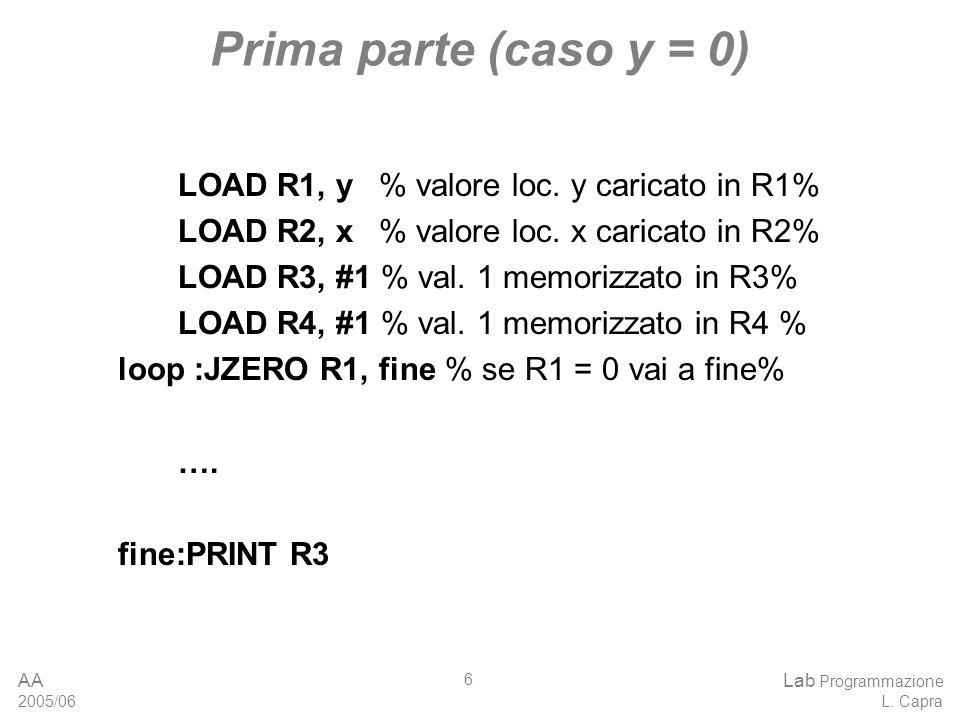 AA 2005/06 Lab Programmazione L. Capra 6 Prima parte (caso y = 0) LOAD R1, y % valore loc.