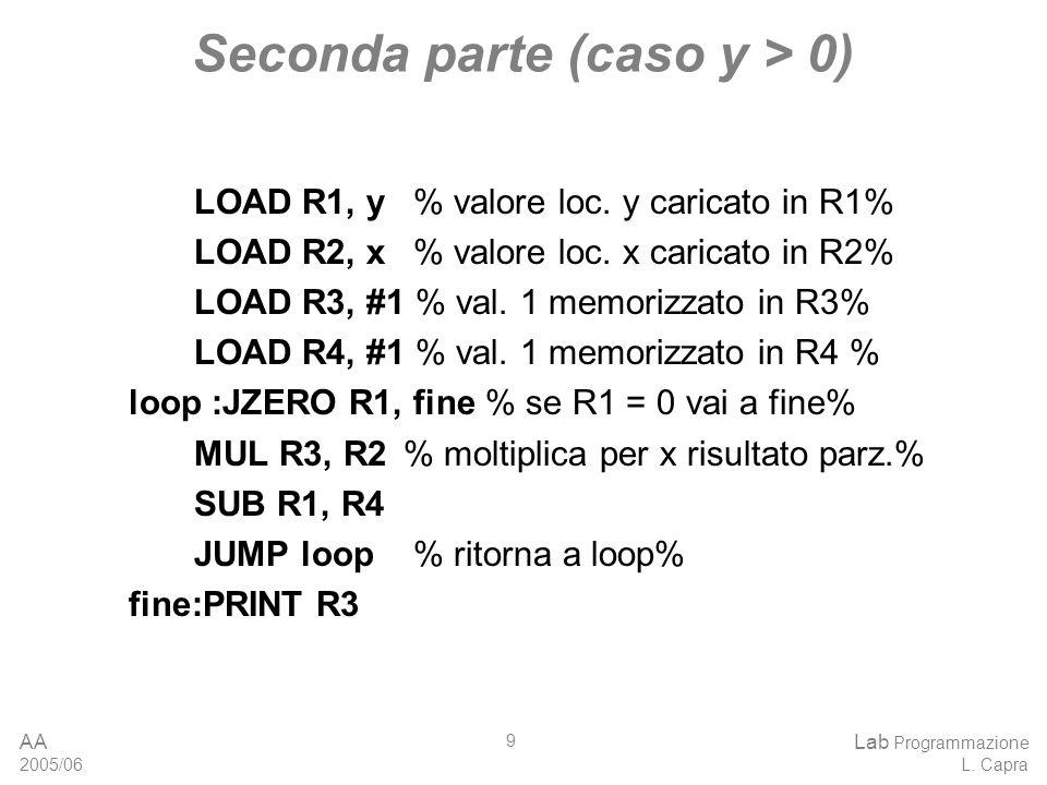 AA 2005/06 Lab Programmazione L. Capra 9 Seconda parte (caso y > 0) LOAD R1, y % valore loc.