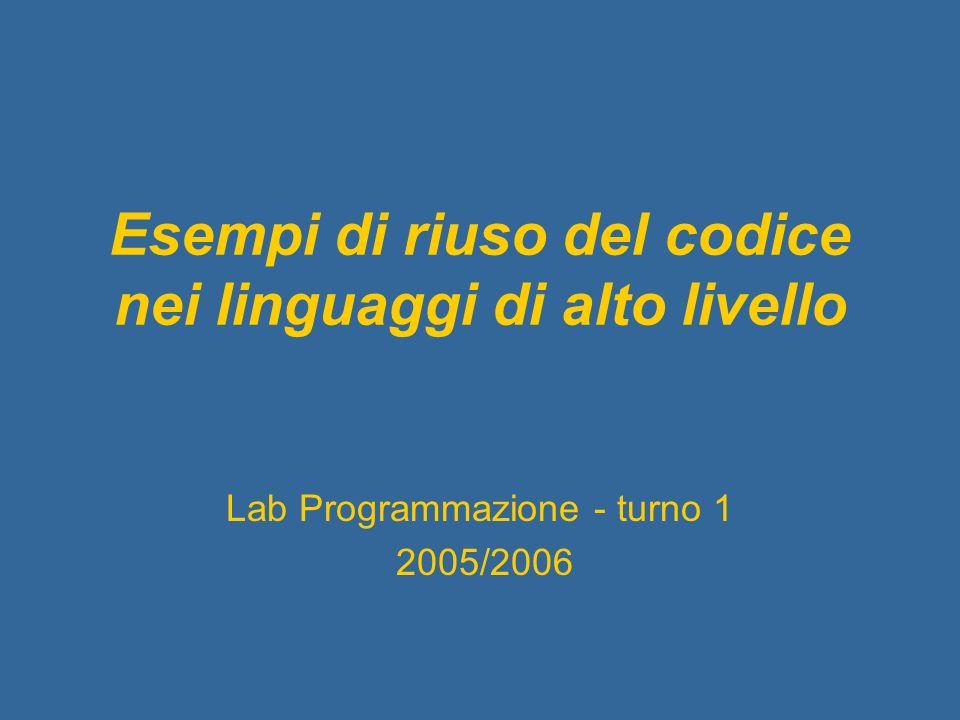 Esempi di riuso del codice nei linguaggi di alto livello Lab Programmazione - turno 1 2005/2006