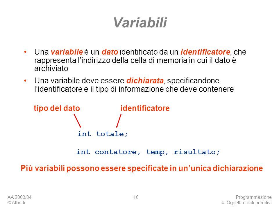 AA 2003/04 © Alberti Programmazione 4. Oggetti e dati primitivi 10 Variabili Una variabile è un dato identificato da un identificatore, che rappresent
