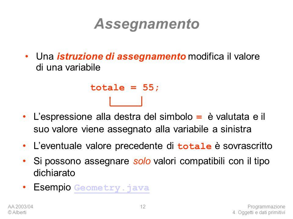 AA 2003/04 © Alberti Programmazione 4. Oggetti e dati primitivi 12 Assegnamento Una istruzione di assegnamento modifica il valore di una variabile tot