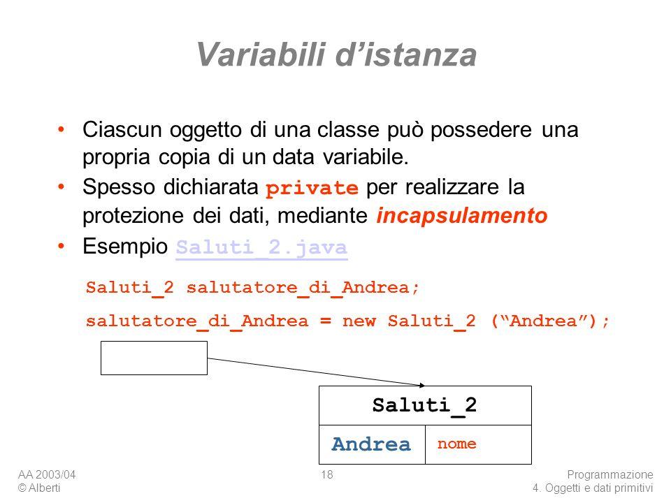 AA 2003/04 © Alberti Programmazione 4. Oggetti e dati primitivi 18 Variabili distanza Ciascun oggetto di una classe può possedere una propria copia di