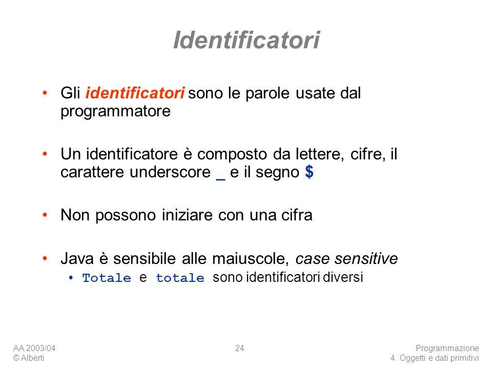 AA 2003/04 © Alberti Programmazione 4. Oggetti e dati primitivi 24 Identificatori Gli identificatori sono le parole usate dal programmatore Un identif