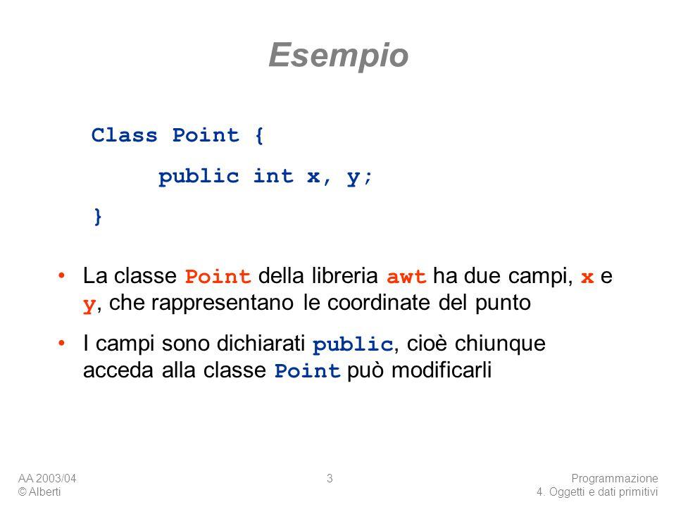 AA 2003/04 © Alberti Programmazione 4. Oggetti e dati primitivi 3 Esempio La classe Point della libreria awt ha due campi, x e y, che rappresentano le