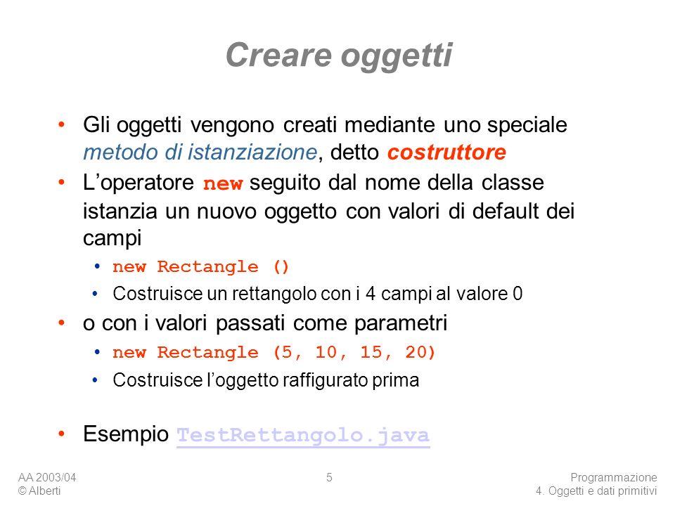AA 2003/04 © Alberti Programmazione 4. Oggetti e dati primitivi 5 Creare oggetti Gli oggetti vengono creati mediante uno speciale metodo di istanziazi