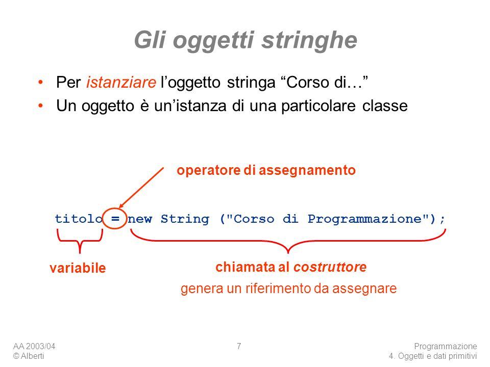 AA 2003/04 © Alberti Programmazione 4. Oggetti e dati primitivi 7 Gli oggetti stringhe titolo = new String (