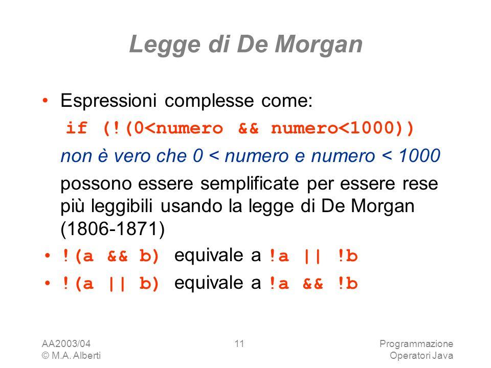 AA2003/04 © M.A. Alberti Programmazione Operatori Java 11 Legge di De Morgan Espressioni complesse come: if (!(0<numero && numero<1000)) non è vero ch