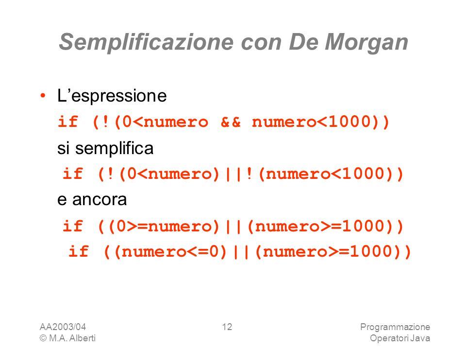 AA2003/04 © M.A. Alberti Programmazione Operatori Java 12 Semplificazione con De Morgan Lespressione if (!(0<numero && numero<1000)) si semplifica if