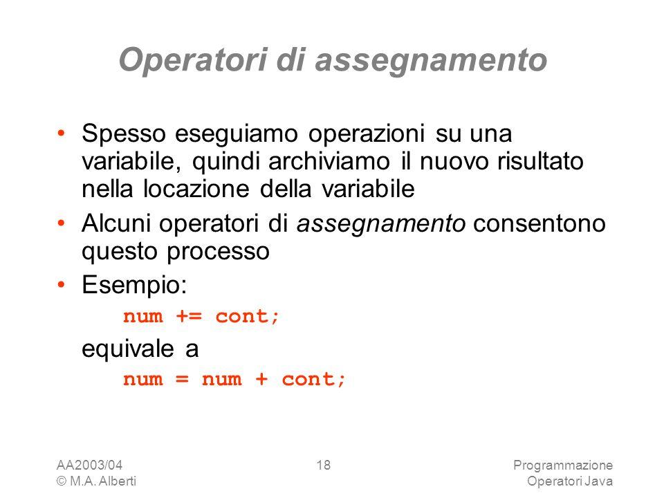 AA2003/04 © M.A. Alberti Programmazione Operatori Java 18 Operatori di assegnamento Spesso eseguiamo operazioni su una variabile, quindi archiviamo il