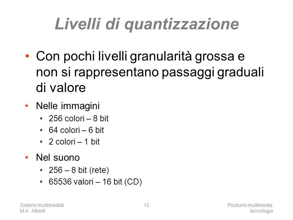 Sistemi multimediali M.A. Alberti Produrre multimedia: tecnologia 13 Livelli di quantizzazione Con pochi livelli granularità grossa e non si rappresen