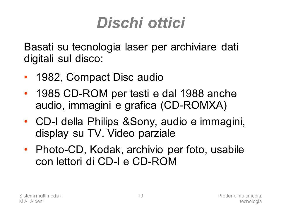 Sistemi multimediali M.A. Alberti Produrre multimedia: tecnologia 19 Dischi ottici 1982, Compact Disc audio 1985 CD-ROM per testi e dal 1988 anche aud