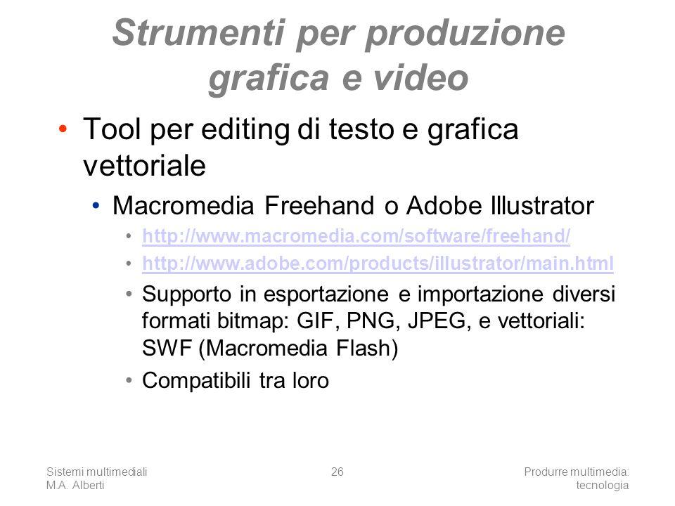 Sistemi multimediali M.A. Alberti Produrre multimedia: tecnologia 26 Strumenti per produzione grafica e video Tool per editing di testo e grafica vett