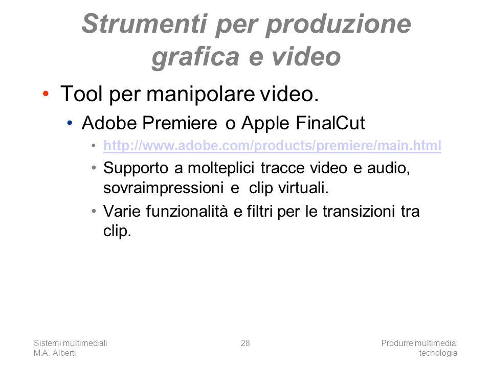 Sistemi multimediali M.A. Alberti Produrre multimedia: tecnologia 28 Strumenti per produzione grafica e video Tool per manipolare video. Adobe Premier