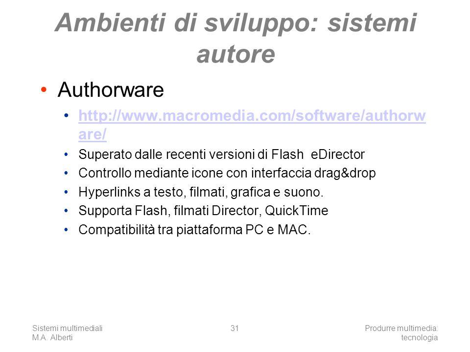 Sistemi multimediali M.A. Alberti Produrre multimedia: tecnologia 31 Ambienti di sviluppo: sistemi autore Authorware http://www.macromedia.com/softwar