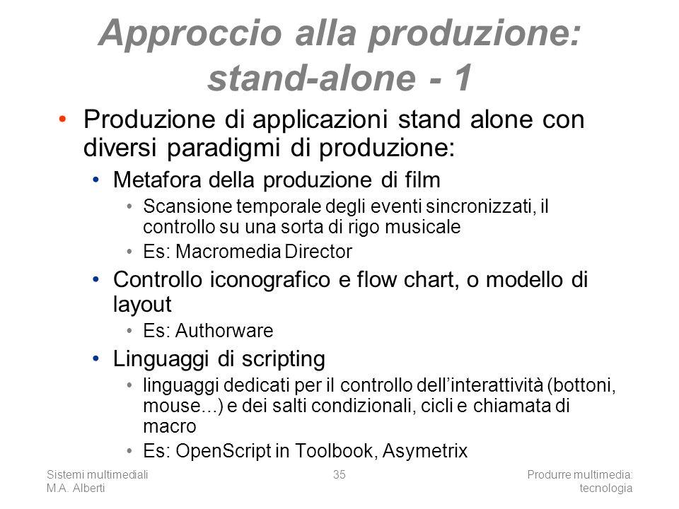 Sistemi multimediali M.A. Alberti Produrre multimedia: tecnologia 35 Approccio alla produzione: stand-alone - 1 Produzione di applicazioni stand alone