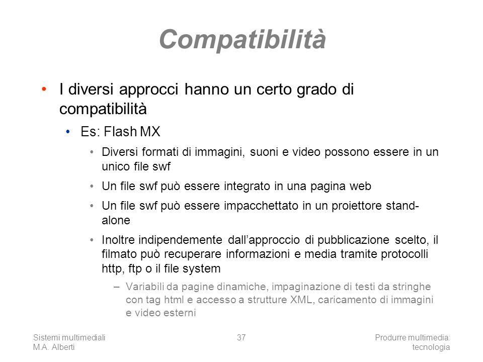 Sistemi multimediali M.A. Alberti Produrre multimedia: tecnologia 37 Compatibilità I diversi approcci hanno un certo grado di compatibilità Es: Flash