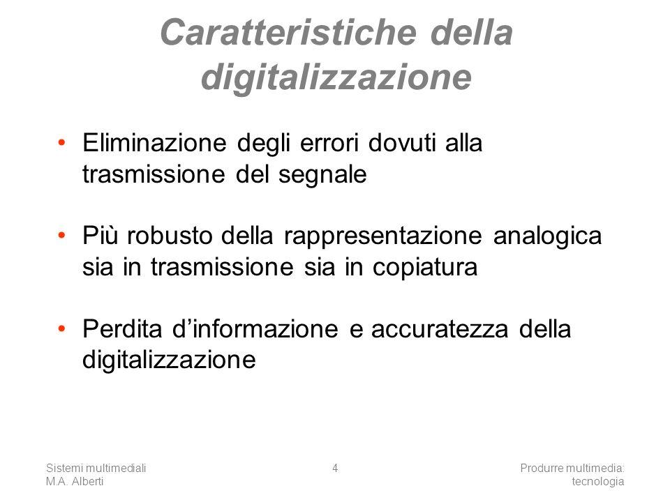 Sistemi multimediali M.A. Alberti Produrre multimedia: tecnologia 4 Caratteristiche della digitalizzazione Eliminazione degli errori dovuti alla trasm