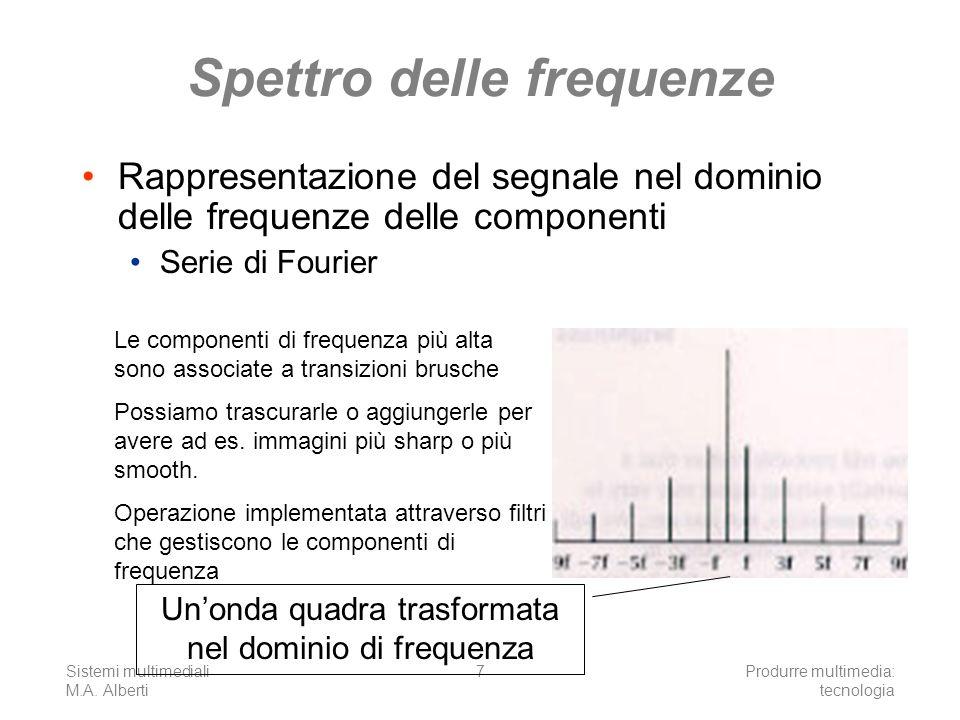 Sistemi multimediali M.A. Alberti Produrre multimedia: tecnologia 7 Spettro delle frequenze Rappresentazione del segnale nel dominio delle frequenze d