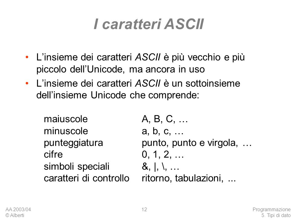 AA 2003/04 © Alberti Programmazione 5. Tipi di dato 12 I caratteri ASCII Linsieme dei caratteri ASCII è più vecchio e più piccolo dellUnicode, ma anco