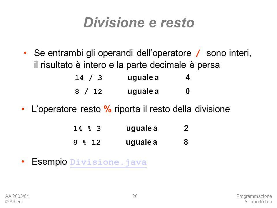 AA 2003/04 © Alberti Programmazione 5. Tipi di dato 20 Divisione e resto Se entrambi gli operandi delloperatore / sono interi, il risultato è intero e