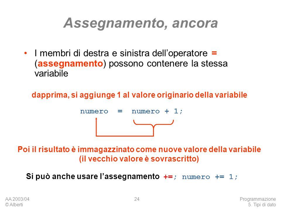 AA 2003/04 © Alberti Programmazione 5. Tipi di dato 24 Assegnamento, ancora I membri di destra e sinistra delloperatore = (assegnamento) possono conte