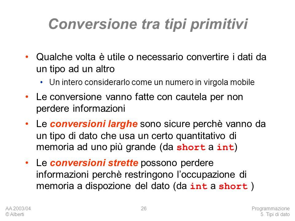 AA 2003/04 © Alberti Programmazione 5. Tipi di dato 26 Conversione tra tipi primitivi Qualche volta è utile o necessario convertire i dati da un tipo