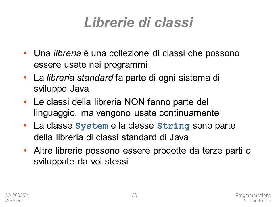 AA 2003/04 © Alberti Programmazione 5. Tipi di dato 30 Librerie di classi Una libreria è una collezione di classi che possono essere usate nei program