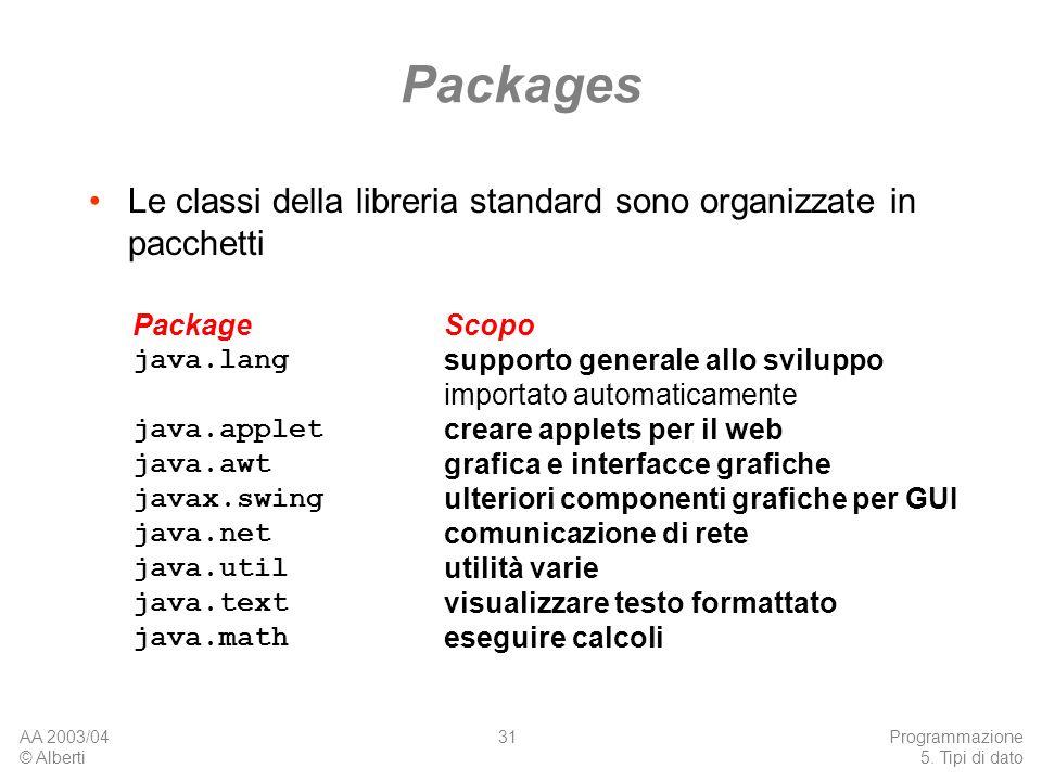 AA 2003/04 © Alberti Programmazione 5. Tipi di dato 31 Packages Le classi della libreria standard sono organizzate in pacchetti Package java.lang java