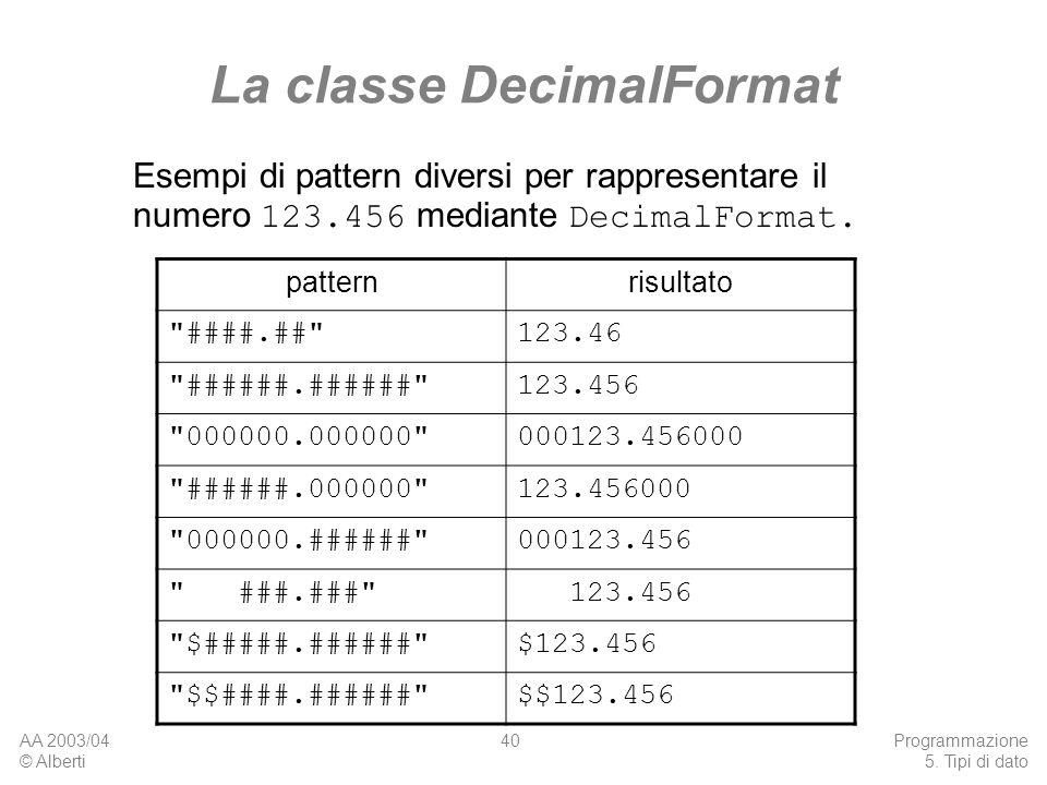 AA 2003/04 © Alberti Programmazione 5. Tipi di dato 40 La classe DecimalFormat patternrisultato