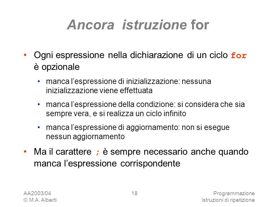 AA2003/04 © M.A. Alberti Programmazione Istruzioni di ripetizione 18 Ancora istruzione for Ogni espressione nella dichiarazione di un ciclo for è opzi