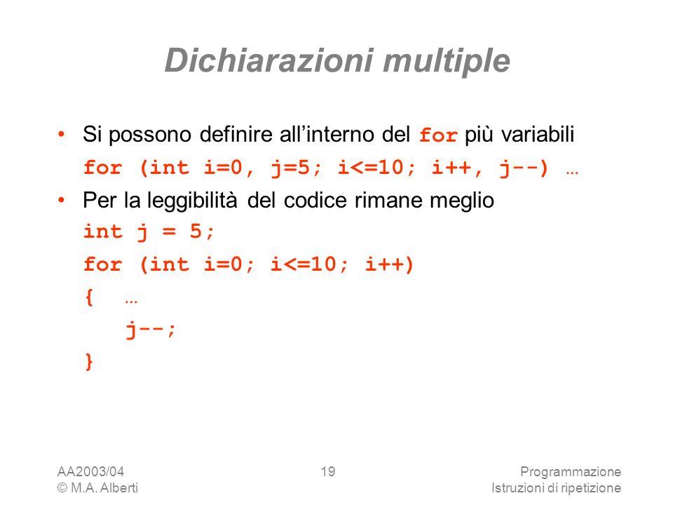 AA2003/04 © M.A. Alberti Programmazione Istruzioni di ripetizione 19 Dichiarazioni multiple Si possono definire allinterno del for più variabili for (
