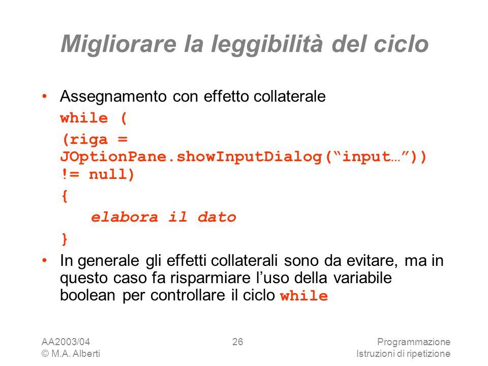 AA2003/04 © M.A. Alberti Programmazione Istruzioni di ripetizione 26 Migliorare la leggibilità del ciclo Assegnamento con effetto collaterale while (
