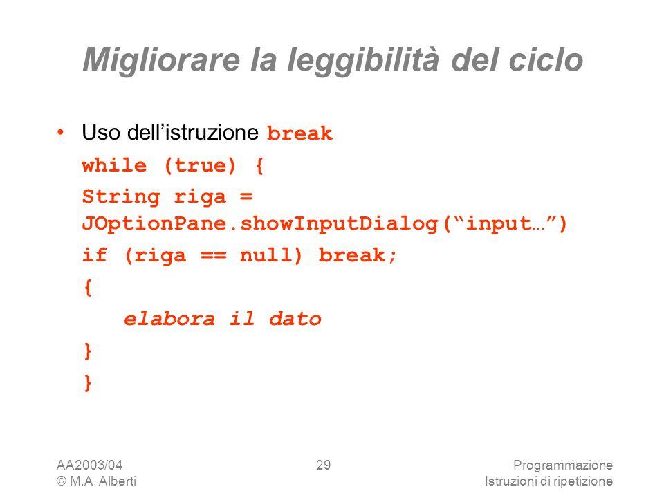 AA2003/04 © M.A. Alberti Programmazione Istruzioni di ripetizione 29 Migliorare la leggibilità del ciclo Uso dellistruzione break while (true) { Strin