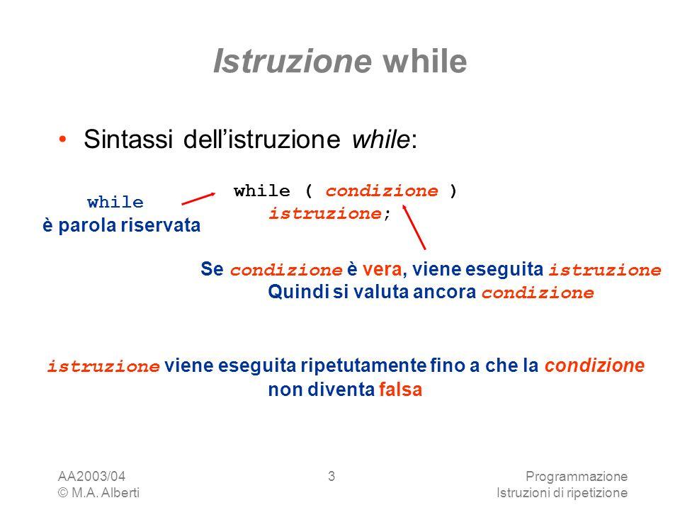 AA2003/04 © M.A. Alberti Programmazione Istruzioni di ripetizione 3 Istruzione while Sintassi dellistruzione while: while ( condizione ) istruzione; w