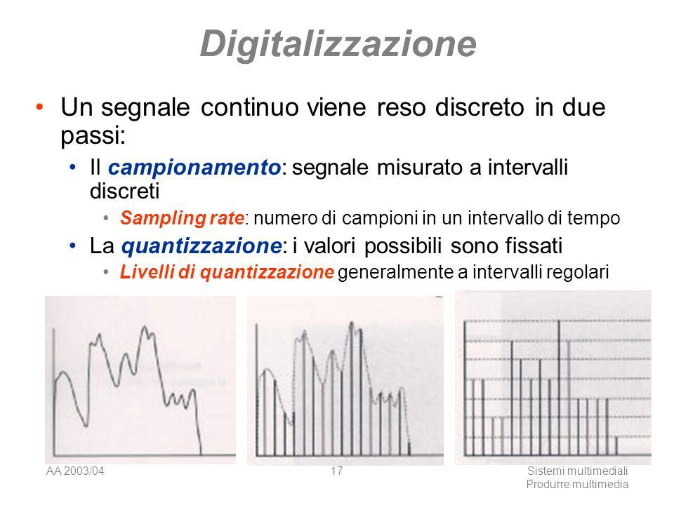 AA 2003/04Sistemi multimediali Produrre multimedia 17 Digitalizzazione Un segnale continuo viene reso discreto in due passi: Il campionamento: segnale