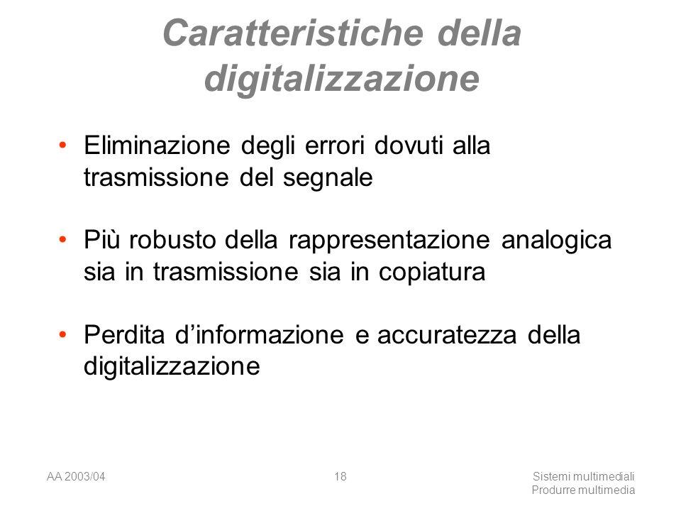 AA 2003/04Sistemi multimediali Produrre multimedia 18 Caratteristiche della digitalizzazione Eliminazione degli errori dovuti alla trasmissione del se