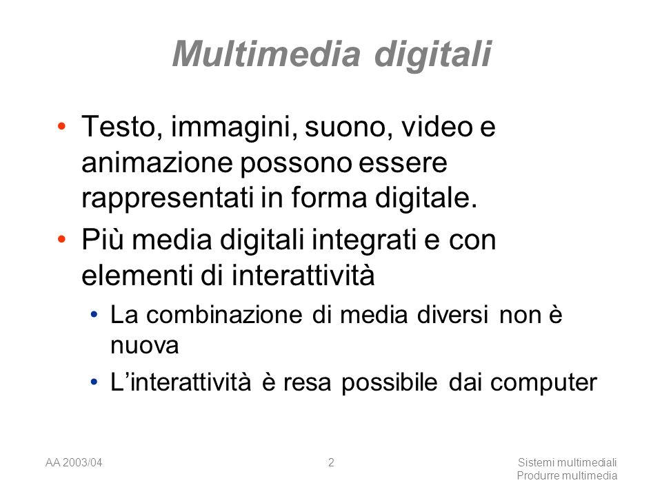 AA 2003/04Sistemi multimediali Produrre multimedia 2 Multimedia digitali Testo, immagini, suono, video e animazione possono essere rappresentati in fo