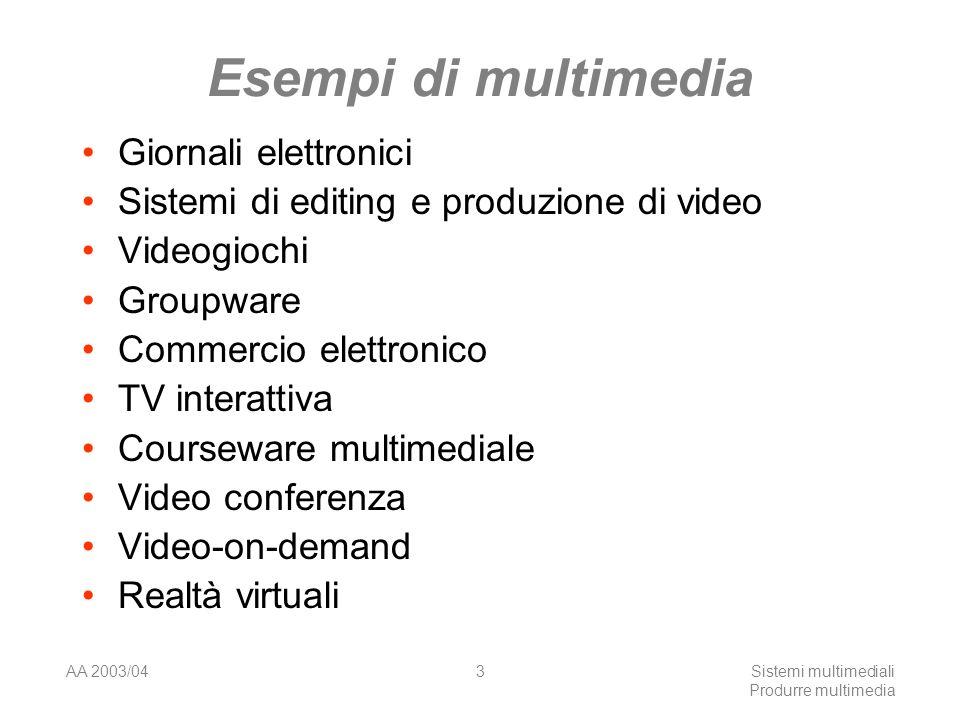 AA 2003/04Sistemi multimediali Produrre multimedia 3 Esempi di multimedia Giornali elettronici Sistemi di editing e produzione di video Videogiochi Gr