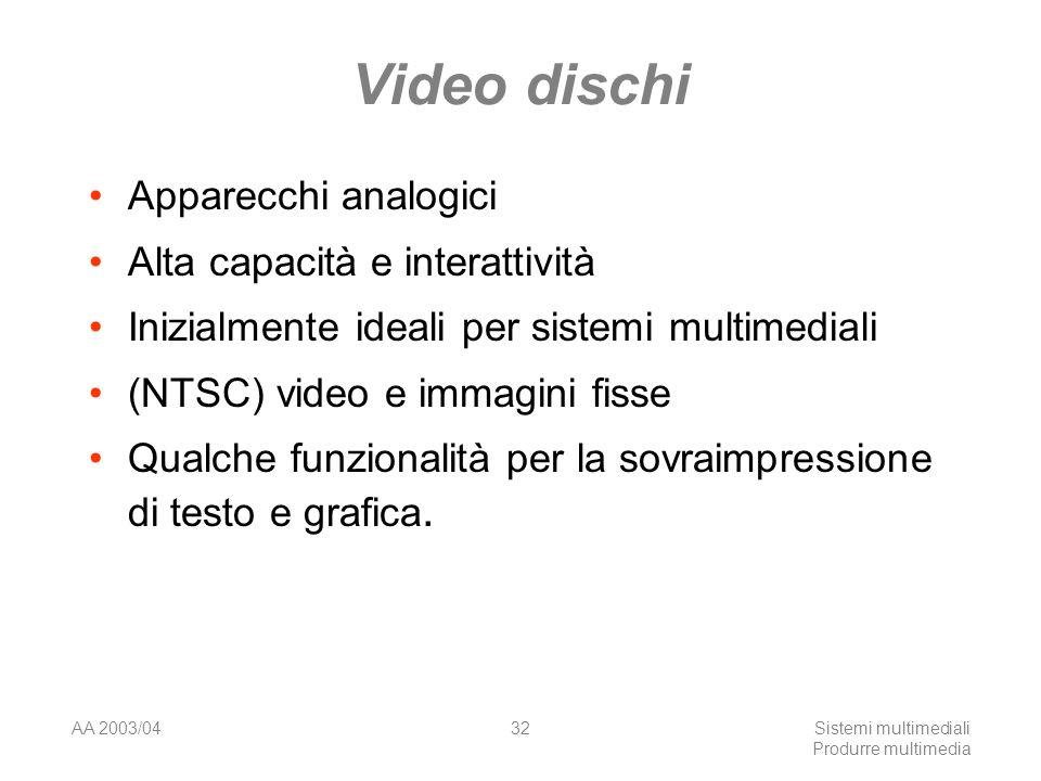 AA 2003/04Sistemi multimediali Produrre multimedia 32 Video dischi Apparecchi analogici Alta capacità e interattività Inizialmente ideali per sistemi