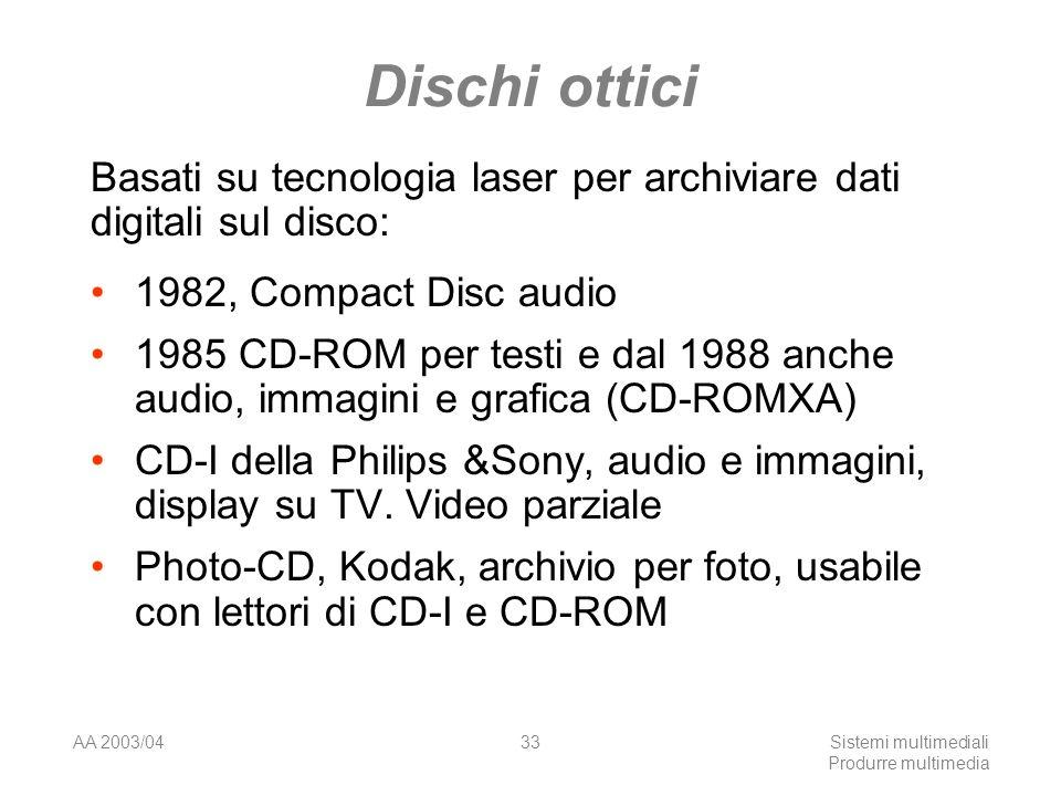 AA 2003/04Sistemi multimediali Produrre multimedia 33 Dischi ottici 1982, Compact Disc audio 1985 CD-ROM per testi e dal 1988 anche audio, immagini e