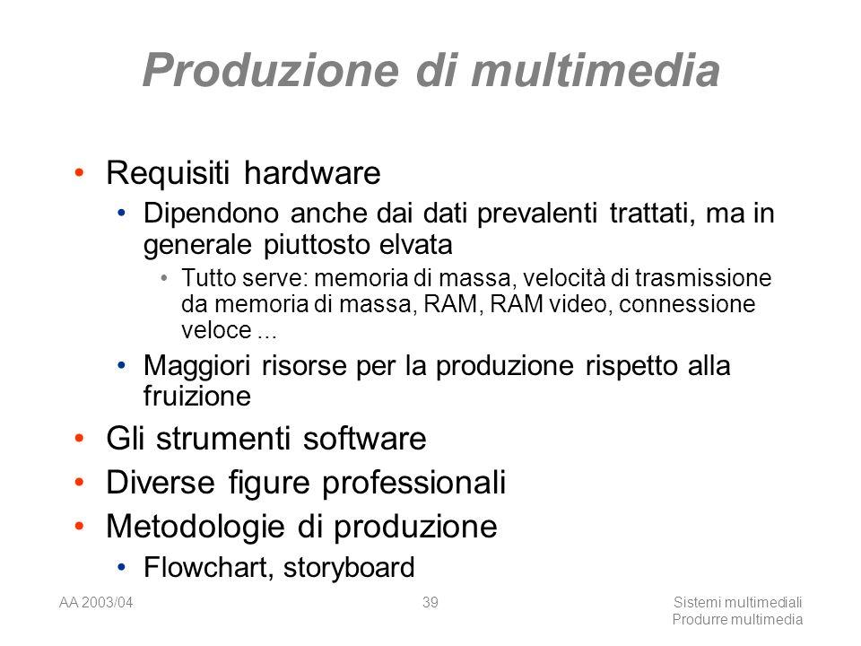 AA 2003/04Sistemi multimediali Produrre multimedia 39 Produzione di multimedia Requisiti hardware Dipendono anche dai dati prevalenti trattati, ma in