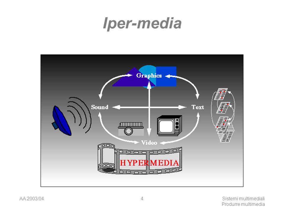 AA 2003/04Sistemi multimediali Produrre multimedia 45 Ambienti di sviluppo: sistemi autore Authorware http://www.macromedia.com/software/authorw are/http://www.macromedia.com/software/authorw are/ Superato dalle recenti versioni di Flash eDirector Controllo mediante icone con interfaccia drag&drop Hyperlinks a testo, filmati, grafica e suono.